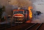 VIDEO | A fost panica ieri pe calea ferata. O locomotiva a luat foc la numai 30 de kilometri de Galati