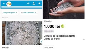 Românii vând pe internet cenușă de la Notre Dame și promit că are efecte miraculoase. Cu cât poți cumpăra