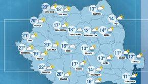 VIDEO | Prognoza meteo, vineri, 19 aprilie. Cer innorat in majoritatea regiunilor. Unde va ploua