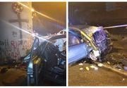 Accident grav la Pasarela din Bistrița. Un șofer a intrat din plin în stâlpul în care și-a găsit sfârșitul un tânăr, acum câteva luni