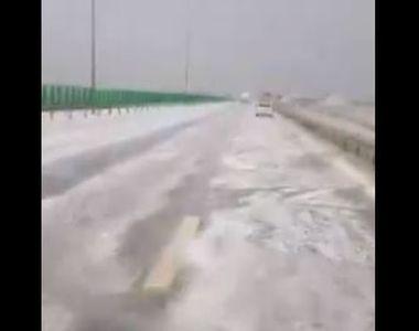 VIDEO | Fenomen meteo extrem pe Autostrada Soarelui