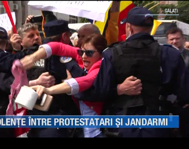 VIDEO| Violente între protestatari și jandarmi la mitingul PSD