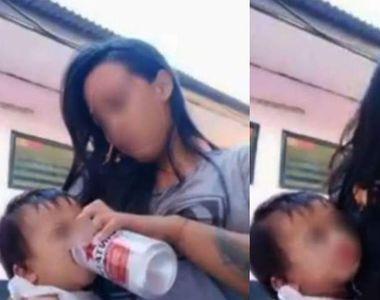Tânără mamă, live pe Facebook în timp ce îi dă bere fiicei sale! Susține că o ajută să...