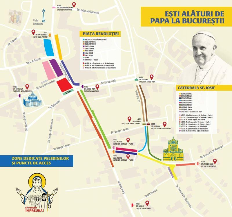 Harta interactiva a vizitei Papei Francisc in Bucuresti 2019
