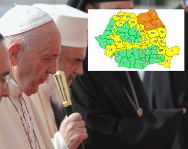 Papa în România 2019. Cod meteo de ploi torențiale în județele unde merge Papa Francisc