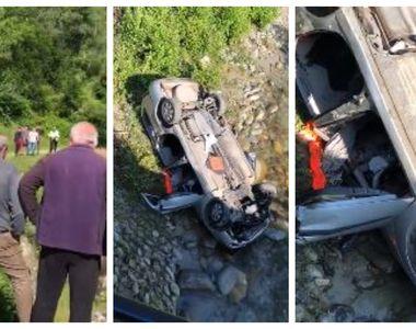 VIDEO | Accident grav în Gorj. O mașină a căzut de pe un pod. Trei oameni au murit