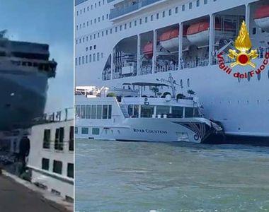 VIDEO   O navă uriașă de croazieră a strivit o altă navă în Veneția