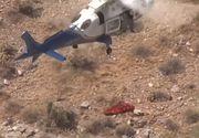 Momente de coșmar. Un elicopter a preluat o pacientă pentru a o transporta la spital, iar targa s-a rotit ca o elice