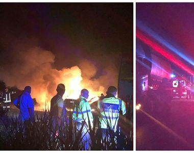 Accident grav în Timişoara: Trei mașini au fost cuprinse de flăcări - VIDEO