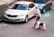 VIDEO| Un câine este atacat de un Amstaff lăsat liber
