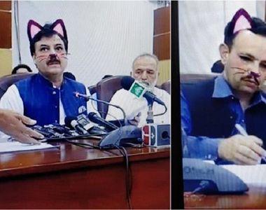 Ședință de guvern cu politicieni cu urechi și mustăți de pisici