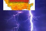 ANM: Cod portocaliu de ploi torenţiale şi vânt în 11 judeţe, până luni după-amiază