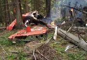 Primele imagini cu avionul care a luat foc în Harghita