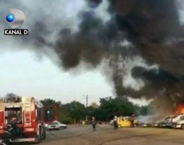 VIDEO | Mașini în flăcări, în curtea poliției. Cum s-a întâmplat totul