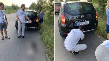 Imagini înfiorătoare! Un preot a legat un câine cu lanţul de maşină şi l-a târât pe asfalt