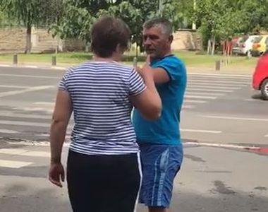 VIDEO   Bărbat bătut de soție, în plină stradă. Scene halucinante în centrul Aradului