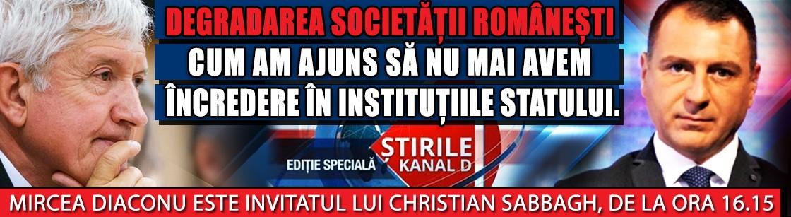 Cum am ajuns să nu mai avem încredere în instituțiile statului. Mircea Diaconu este invitatul lui Christian Sabbagh, de la ora 16.15