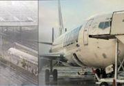 VIDEO   Patru avioane, avariate de furtuna din București