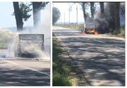 Incident terifiant în Tulcea. O mașină a luat foc în mers