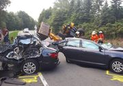 Accident îngrozitor: Audi A6 rupt în două de un excavator. Șoferul a murit pe loc