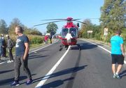 Două maşini şi un camion s-au ciocnit pe DN 13, cinci persoane fiind rănite; a fost solicitat elicopterul SMURD