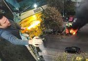 VIDEO | O mașină a sărit în aer, în Capitală. Greșeala comisă de șofer îi putea fi fatală