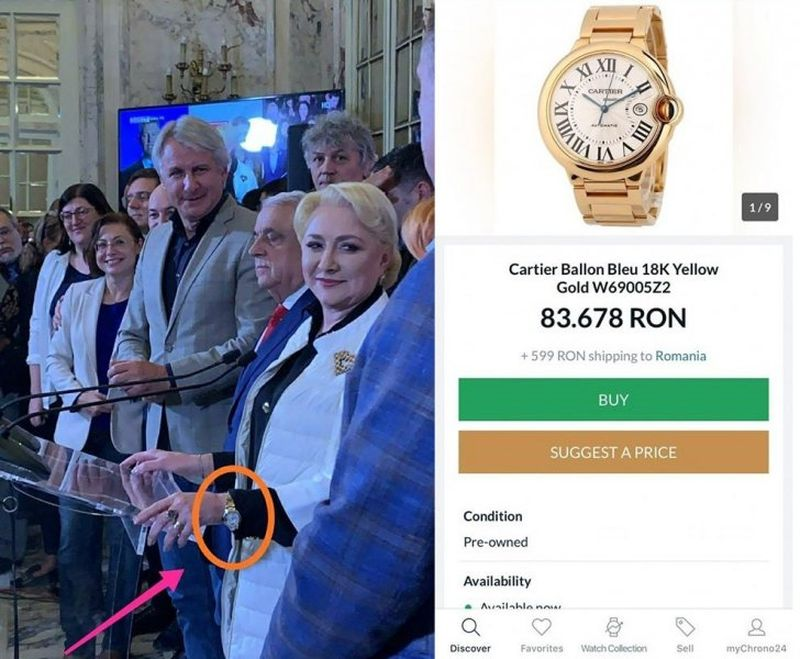 Viorica Dăncilă cu un ceas de lux la mână. Bijuteria este echivalentul a 119 pensii