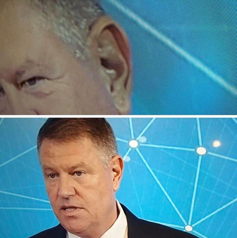 Klaus Iohannis acuzat că cineva îi șoptește mereu ce să spună, la cască