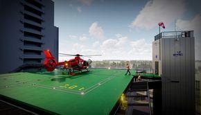 Imagini spectaculoase cu primul elicopter de pe heliportul Spitalului Universitar din București
