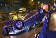 Accident de proporții: o mașină s-a răsturnat azi-noapte pe o șosea din Capitală