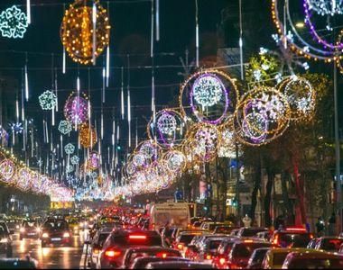VIDEO | E Crăciun în București - 760.000 de luminiţe strălucesc pe bulevarde. Vezi cât...