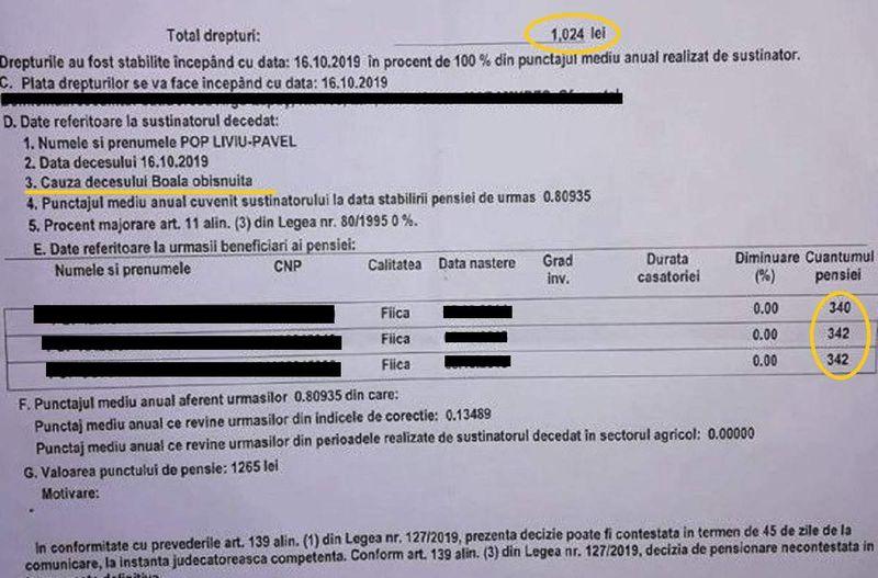 """Documentul pensiei de urmaș a pădurarului ucis de hoții de lemne arată ca acesta a murit de o """"boală obișnuită"""""""