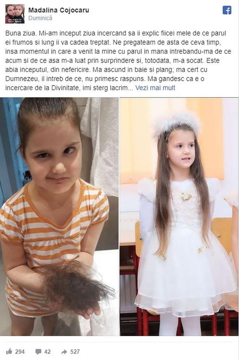 """Povestea șocantă a unei mame îndurerate: """"Fiica mea a venit la mine cu părul căzut în mână și m-a întrebat de ce acum...Mă cert cu Dumnezeu și îl intreb de ce"""""""