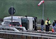 Microbuz cu 9 români răsturnat în Germania, pe autostradă. Unul dintre ei e în stare gravă