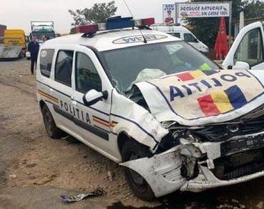 Maşină a Poliţiei, implicată într-un accident pe DN 1