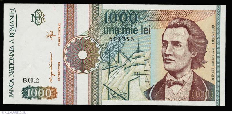 Bancnota de 1.000 de lei cu Mihai Eminescu