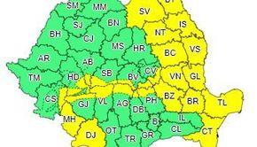 Cod galben de intensificări ale vântului, în Moldova, Oltenia, Muntenia, Dobrogea şi în zona montană