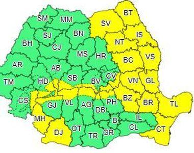 Cod galben de intensificări ale vântului, în Moldova, Oltenia, Muntenia, Dobrogea şi în...