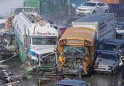 Accident de proporții pe autostradă, provocat de 200 de mașini