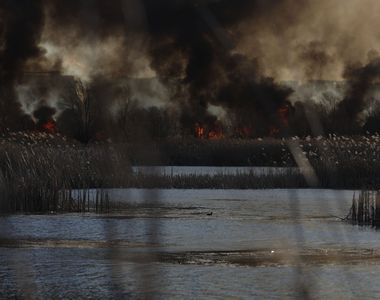 Incendiu puternic în Bucureşti, în Delta Văcăreşti