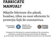 Ministerul Sănătăţii: Măştile fabricate manual sau din pânză/bumbac/tifon nu protejează împotriva infecţiei cu coronavirus