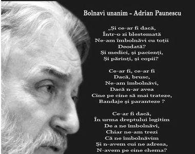 Poezia cutremurătoare a lui Adrian Păunescu despre coronavirus