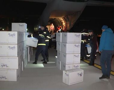 O aeronavă militară a adus materiale sanitare din Turcia - VIDEO