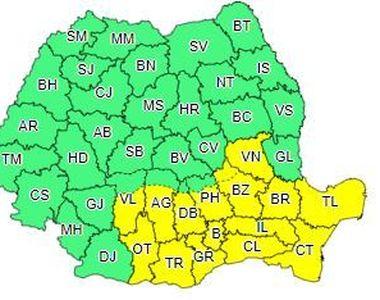 Cod galben de vânt puternic, în Muntenia, Dobrogea, sud-vestul Moldovei şi estul Olteniei