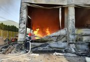 Maramureş: Incendiu cu mari degajări de fum la un depozit de vopseluri şi materiale de construcţii