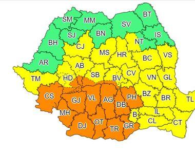 Cod portocaliu de instabilitate atmosferică, în Oltenia, local în Muntenia, în sudul...