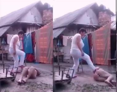 Imagini șocante au apărut pe internet! O bătrână neajutorată, dezbrăcată și căzută în...