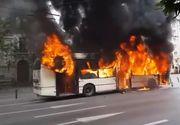 VIDEO| Troleibuz în flăcări, în centrul Capitalei