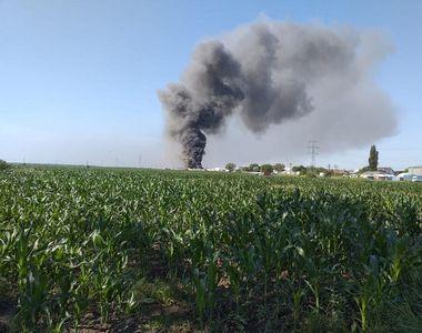Incendiu puternic la depozitul unei firme de reciclare