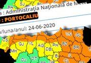 Cod portocaliu de ploi torenţiale, cu cantităţi însemnate de apă, vijelii şi descărcări electrice, la munte şi în Moldova, Dobrogea şi local în Muntenia şi Transilvania